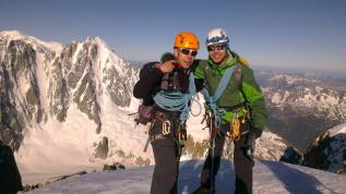 Myself and Efe on the summit of Aiguille d'Argentiere.
