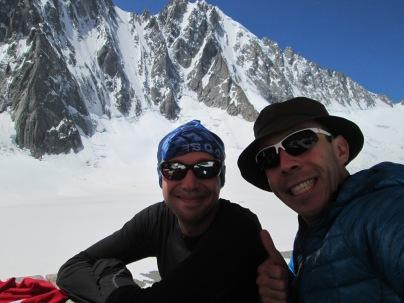 Myself and Efe in Argentiere hut.