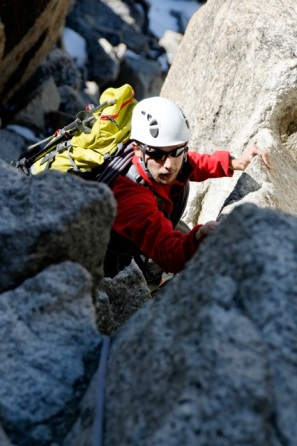 """Myself on the """"Cosmiques Arete"""" of the Aiguille du Midi (AD+) in the Alps"""