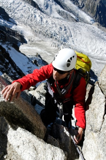 "Myself on the ""Cosmiques Arete"" of the Aiguille du Midi (AD+) in the Alps"