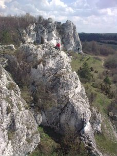 Rock climbing in Rzedkowice, Poland