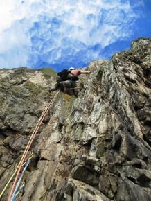 Myself leading at Gogarth, North Wales