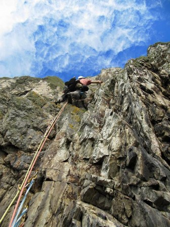 Myself leading at Gogarth, North Wales