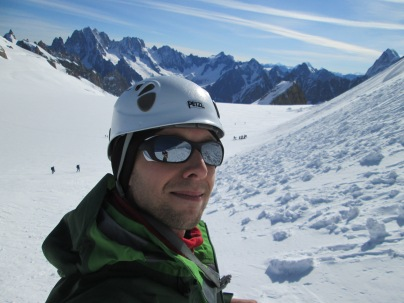 Selfie with Vallee Blanche in the background, French Alps