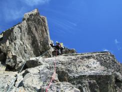 Myself leading on the SE ridge of the Index (AD-, 4c), Aiguilles Rouges near Chamonix