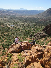 Catherine Smith and Chris Sabel belaying in Ameln Valley, Morocco