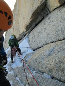 Not a very comfortable belay... Triangle du Tacul, French Alps