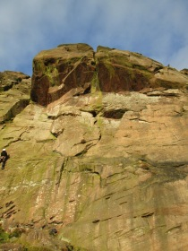 """The Sloth"" (HVS, 5a), Roaches, Peak District"
