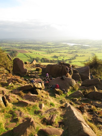 CMC at the crag, Roaches, Peak District
