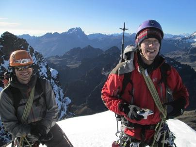 Nick Berry and John da Silva at the summit of Pequeno Alpamayo (5370m)