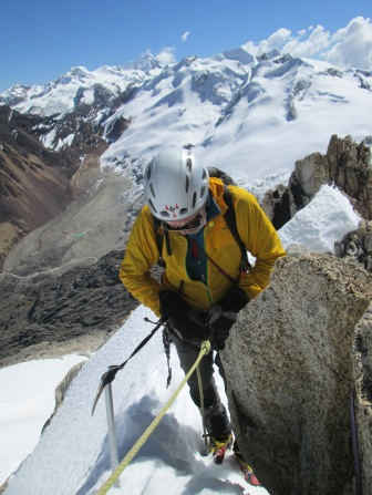 Derek Buckle getting ready to abseil from Calzada