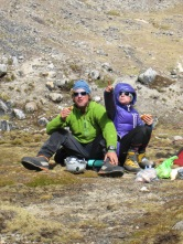 Ken and Lili Mulvany looking for the best route to the summit of Hati Khollu (5421m)
