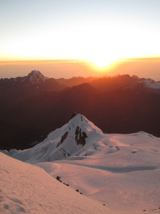 Sunrise at the summit of Huayana Potosi (6088m)