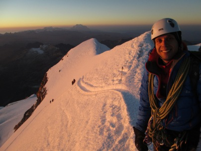 Myself at the summit of Huayana Potosi (6088m) with the Polish Ridge behind me