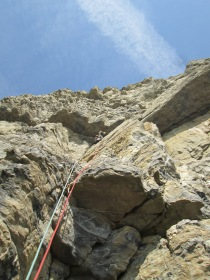 "Martin leading ""Lightning Wall"" (HVS, 5b)"