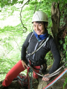 """My """"crazy"""" climbing partner showing off her helmet from the 80s, reminding me those legendary polish mountaineerers from the 80s:)"""